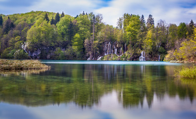 Scenic view of beautiful waterfalls and cascades, Plitvice Lakes National Park, Croatia