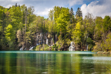 Amazing waterfalls connecting turquoise and emerald lakes, Plitvice Lakes National Park, Croatia