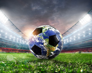Soccer ball a as world. Earth provided by NASA.