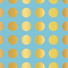 Metallic gold foil polka dots pattern. Circles Seamless Vector. Shiny metallic golden foil dots on blue background. For Wallpaper, Elegant invitation, web banner, birthday, baby shower, party.