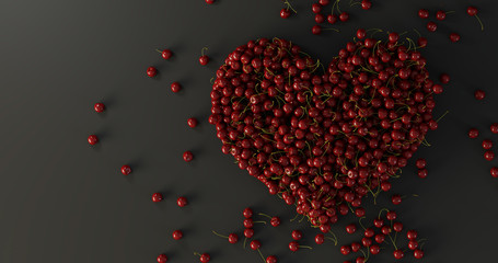 Healthy cherry, good for human heart. Original 3d rendering