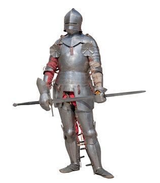 Knight in shiny metal armor on white background.