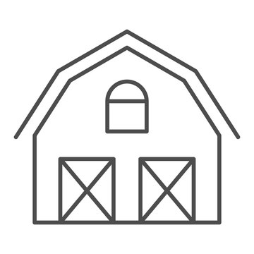 Farm house thin line icon. Warehouse vector illustration isolated on white. Barn outline style design, designed for web and app. Eps 10.