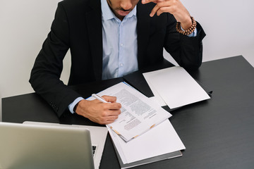 Man completing paper work