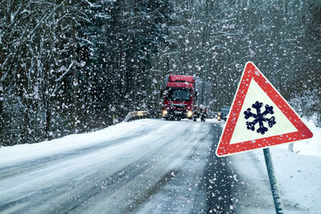 Germany, Danger, Road, Traffic, Winter.