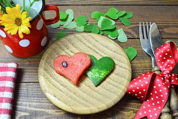 Valentines food. Watermelon in the shape of heart