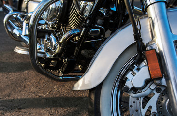 chromed motorcycle. chopper, handmade bike, motorcycle close-up.