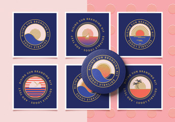 Retro Logo Layouts with Retro Sunrise Icons
