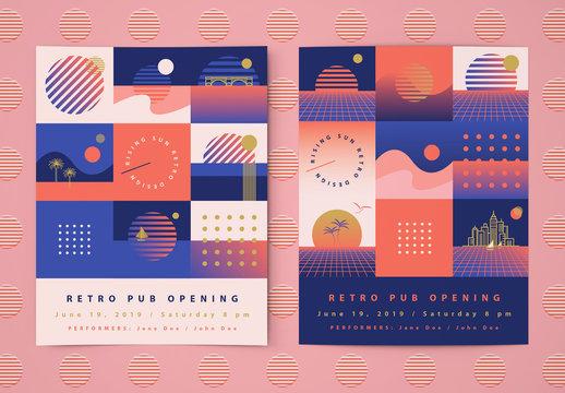 Flyer Layouts with Retro Sunrise Icons