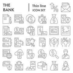 Bank thin line icon set, finance symbols collection, vector sketches, logo illustrations, payment signs linear pictograms package isolated on white background, eps 10.