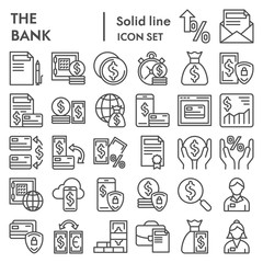Bank line icon set, finance symbols collection, vector sketches, logo illustrations, payment signs linear pictograms package isolated on white background, eps 10.