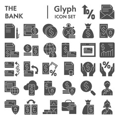 Bank glyph icon set, finance symbols collection, vector sketches, logo illustrations, payment signs solid pictograms package isolated on white background, eps 10.