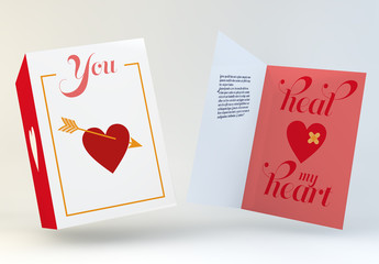 Valentine's Day Card Layout with Heart Illustration
