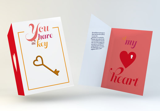 Valentine's Day Card Layout with Key and Heart Illustration