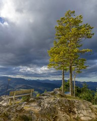 Viewpoint Kleine Kanzel with cloudy sky, Hohe Wand, Lower Austria, Austria, Europe