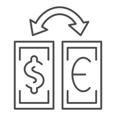 Currency exchange thin line icon. Dollar and euro exchange vector illustration isolated on white. Banknotes and arrow outline style design, designed for web and app. Eps 10.