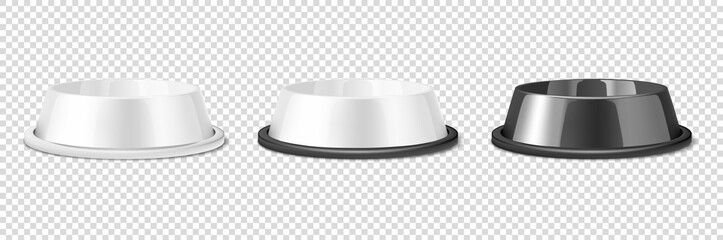Vector Realistic White and Black Blank Plastic or Metal Pet Bowl Icon Set, Mock-up Closeup Isolated on Transparent Background. Design Template of Bowl for Pet, Cat, Animal Food for Mockup. Front View Wall mural