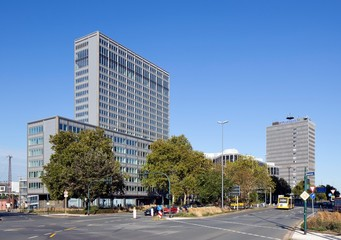 Rheinstahlhaus, office tower of the ThyssenKrupp Group and Postal Check Office or Postbank Tower, Essen, Ruhr area, North Rhine-Westphalia, Germany, Europe