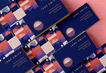 Business Card Layout with Retro Sunrise Icons