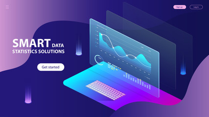 Isometric Concept of Smart Data Statistics Solutions. Landing Page Concept Template. Charts and analyzing statistics. Vector EPS 10