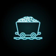 coal trolley icon in neon style. Simple thin line, outline vector of Energy icons for UI and UX, website or mobile application
