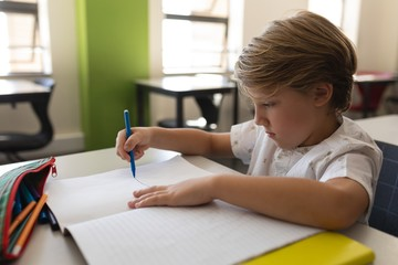Schoolboy studying in classroom sitting at desks in school