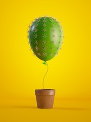 Papiers peints Cactus 3d render, green cactus air balloon growing, potted plant, isolated on yellow background, metaphorical concept, design element, digital illustration.