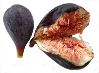Two fresh figs on white