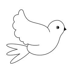 Dove peace bird black and white