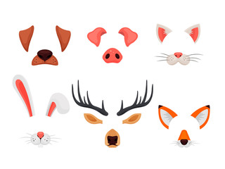 Animal faces set with ears and noses isolated on white background. Video chat effects and selfie filters. Funny masks of dog, pig, cat, rabbit, deer and fox - vector illustration
