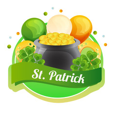 colorful saint patrick label with balloon and coin