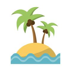 Palms on island cartoon