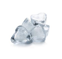 Heart shaped ice cubes on white background