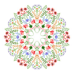 Watercolor mandala. Circular hand-drawn design with spring flowers and branches.
