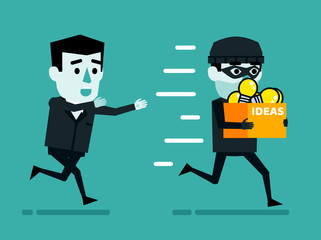 Theft of ideas, intellectual property thievery concept. Businessman chases thief who stole box full of idea light bulbs. Flat style vector illustration