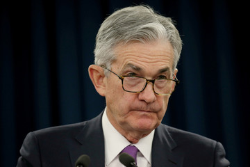 Federal Reserve Chairman Jerome Powell holds a press conference following a two day Federal Open Market Committee policy meeting in Washington, U.S.