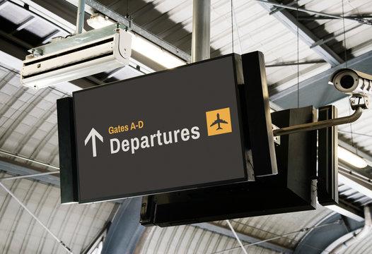 Blank digital billboard at the airport mockup