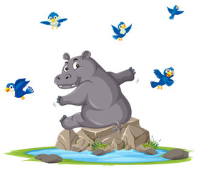 A hippopotamus next to pond