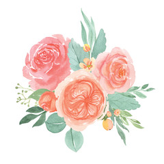 Floral and leaves watercolor elements set hand painted lush flowers. Illustration of rose, peony, little flowers vintage style aquarelle isolated on white background. Design decor for card.