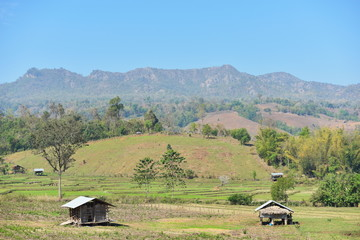 Morning views of rural villages in Thailand