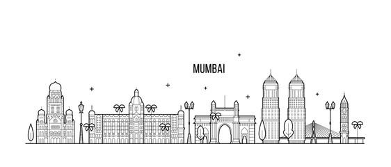 Fototapete - Mumbai skyline Maharashtra India city line vector