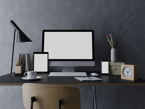 3d rendering mock up template of blank white screen of computer, tablet on the left and smart phone on the right for your portfolio in stylish interior workspace on clean designer desk in front view