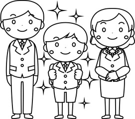 Family in the entrance ceremony outline set