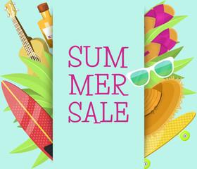 Summer sale banner, brochure, flyer, poster. Best price. Vacation on seaside. Plants, slippers, surf, hat, sunglasses, skateboard, sun cream, guitar. Discount for summer equipment