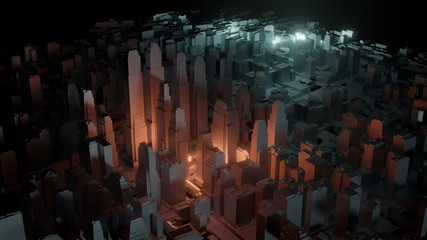 3d city with bright flashes on a dark background