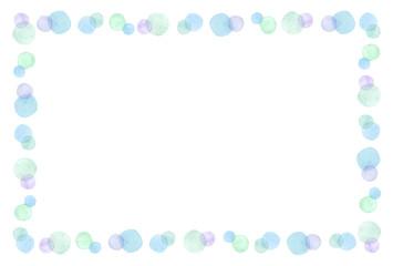 水玉のフレーム 水彩 青色