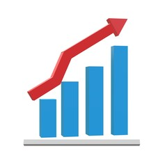 3D growth icon on black background. flat style. graph chart icon for your web site design, logo, app, UI. 3D growth chart symbol. 3d chart with arrow sign.