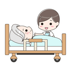 シニア男性を介護する男性介護士
