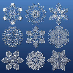 set of white snowflakes for decorating