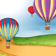 Children in hot air balloon